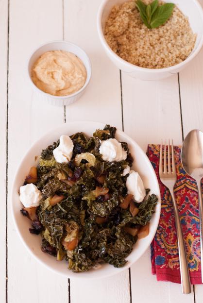 Col rizada con quinoa
