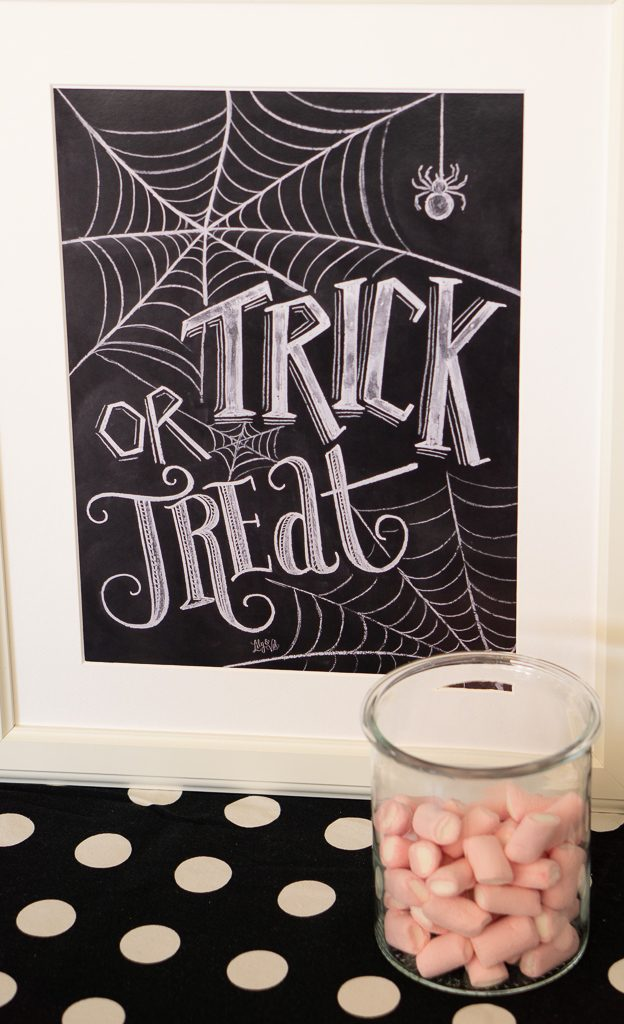 trick or treat poster and sweets