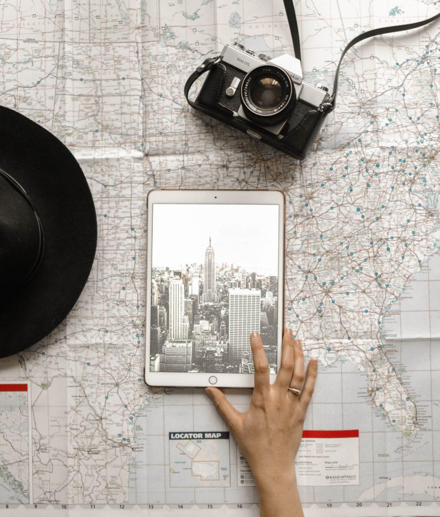 map and iPad trip organizer