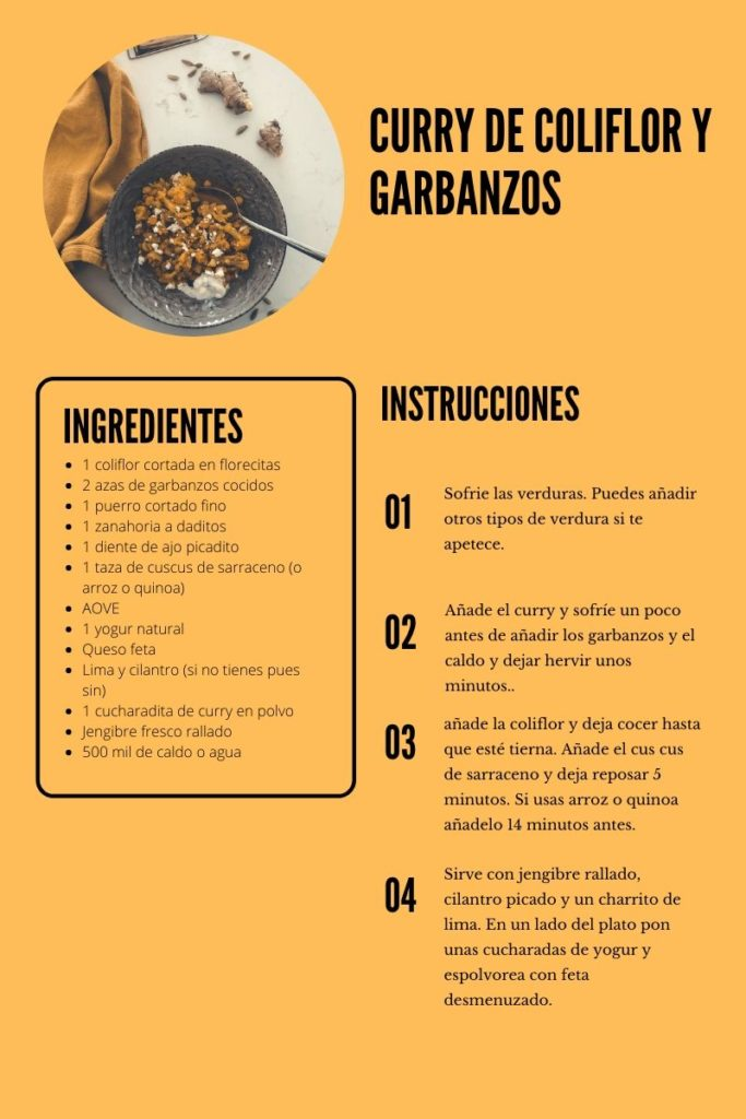 curry de coliflor y garbanzos